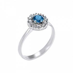 λευκοχρυσο δαχτυλιδι με μπλε πετρα